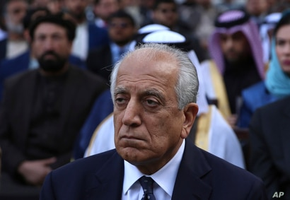 Washington's peace envoy Zalmay Khalilzad attends the inauguration ceremony for Afghan President Ashraf Ghani at the…