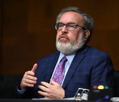 Andrew Wheeler, administrator of the Environmental Protection Agency, speaks during a Senate Environment and Public Works…