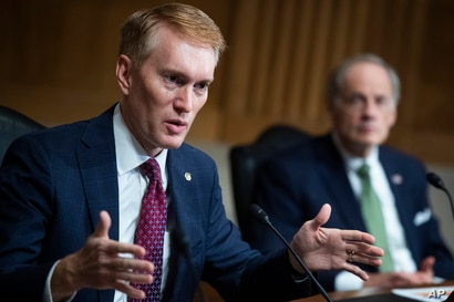 """Sen. James Lankford, R-Okla. speaks during a Senate Homeland Security and Governmental Affairs Committee hearing titled """"CBP…"""