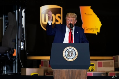 President Donald speaks during an event on American infrastructure at UPS Hapeville Airport Hub, Wednesday, July 15, 2020, in…