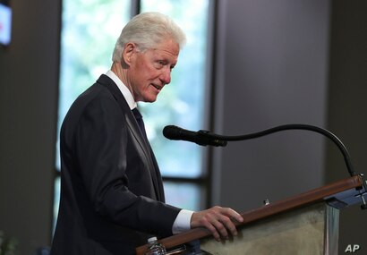 Former President Bill Clinton speaks during the funeral service for the late Rep. John Lewis, D-Ga., at Ebenezer Baptist Church…