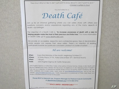 This Oct. 17, 2013 photo shows an invitation to a Death Cafe discussion in New York City. Death Cafes, where people talk freely…