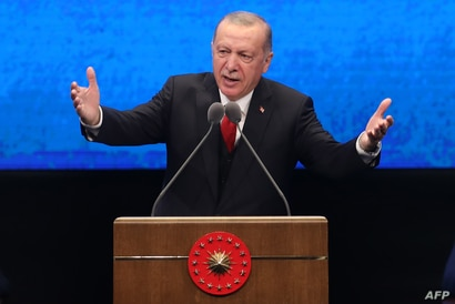 Turkish President Recep Tayyip Erdogan delivers a speech at the Bestepe National Congress and Culture Center in Ankara, July 21, 2020.