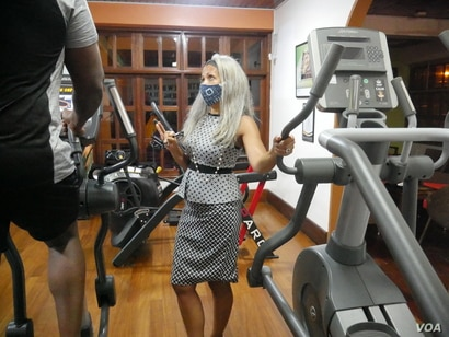 Pippa Pepera has watched interest in health and fitness increase over the past 24 years. She hopes COVID-19 will make the interest grow further. Accra, Ghana, June 30, 2020. (Stacey Knott/VOA)