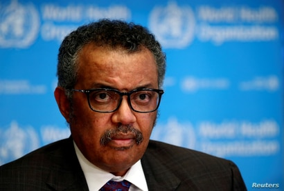 FILE PHOTO: Director General of the World Health Organization (WHO) Tedros Adhanom Ghebreyesus attends a news conference on the…