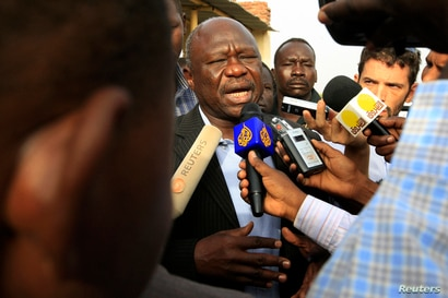 The SPLM governor candidate Abdul Aziz Al-Hilu speaks to the press after voting at a polling centre in Kadogli in South…