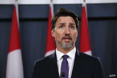 Canadian Prime Minister Justin Trudeau speaks during a news conference on January 9, 2020 in Ottawa, Canada. - Prime Minister…