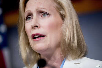 Democratic presidential candidate Sen. Kirsten Gillibrand, D-N.Y., speaks at a news conference on the 9/11 victims fund on Capitol Hill in Washington, Thursday, July 18, 2019. (AP Photo/Andrew Harnik)