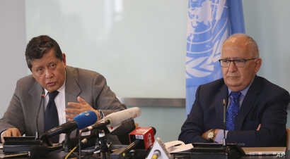 Marzuki Darusman, left, chair of the UN fact-finding mission on Myanmar gestures and Christopher Sidoti, right, an international human rights lawyer, listen during a press conference in Jakarta, Indonesia, Monday, Aug. 5, 2019. A United Nations fact…
