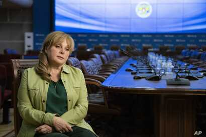 In this photo taken on Tuesday, Aug. 27, 2019, Ella Pamfilova, head of Russian Central Election Commission speaks during an interview with the Associated Press in Moscow, Russia.  Pamfilova has defended the commission's decision to bar nearly two…