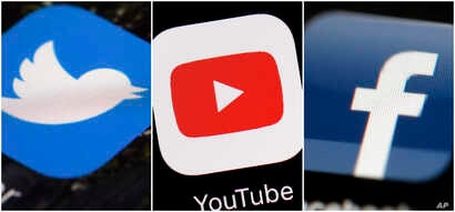 This combination of images shows logos for companies from left, Twitter, YouTube and Facebook. These Internet companies and others say they're working to remove video footage filmed by a gunman in the New Zealand mosque shooting that was widely…
