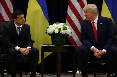 President Donald Trump meets with Ukrainian President Volodymyr Zelenskiy at the InterContinental Barclay New York hotel during…