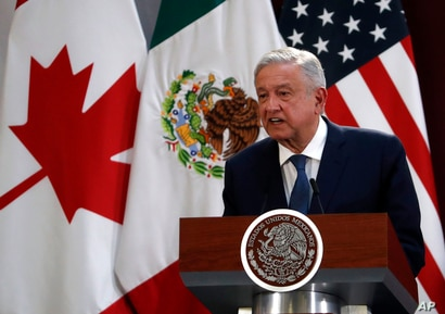 Mexico's President Andres Manuel Lopez Obrador speaks during an event to sign an update to the North American Free Trade…