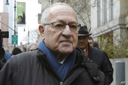 FILE - In this Dec. 2, 2019 file photo, Attorney Alan Dershowitz leaves federal court, in New York. President Donald Trump's…