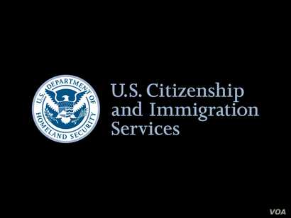 US Citizenship and Immigration Services logo, graphic element on black