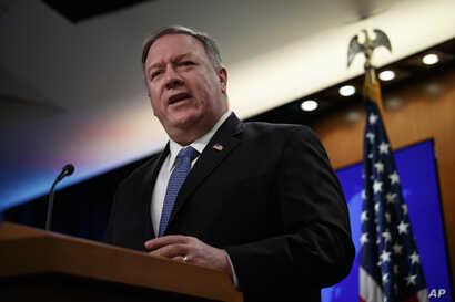 Secretary of State Mike Pompeo speaks during a news conference at the State Department in Washington, Thursday, March, 5, 2020…