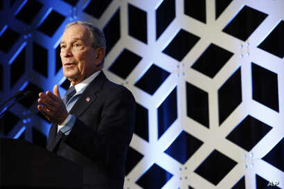 Democratic presidential candidate Mike Bloomberg speaks at the North Carolina Democratic Party's Blue NC Celebration, Saturday,…