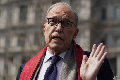 White House chief economic adviser Larry Kudlow talks to reporters about the economic impact of the coronavirus, at the White…