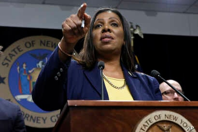 New York State Attorney General Letitia James speaks during a news conference at her office in New York, Tuesday, Nov. 19, 2019…