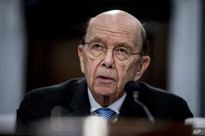 Commerce Secretary Wilbur Ross testifies before a House Appropriations subcommittee on budget on Capitol Hill, Tuesday, March…