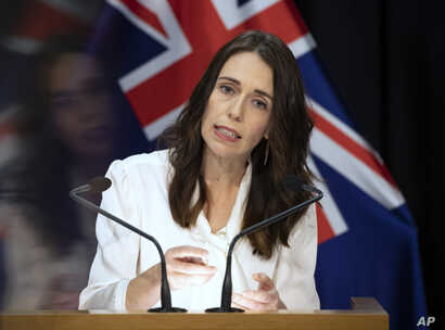 New Zealand's Prime Minister Jacinda Ardern addresses a press conference at the post-cabinet media conference at Parliament, in…