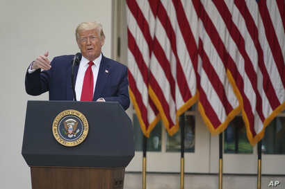 President Donald Trump speaks at an event on protecting seniors with diabetes in the Rose Garden White House, Tuesday, May 26,…