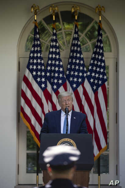 President Donald Trump speaks during a presidential recognition ceremony in the Rose Garden of the White House, Friday, May 15,…