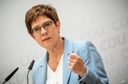 Annegret Kramp-Karrenbauer, Christian Democratic Union, CDU, party chairwoman and German Minister of Defence, speaks at a news…