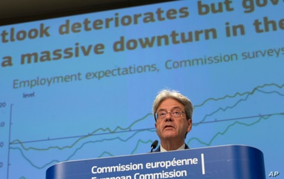 European Commissioner for Economy Paolo Gentiloni speaks during a media conference on the summer 2020 economic forecast at EU…