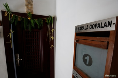 Postal box with the name Sarala Gopalan, aunt of Kamala Harris, is seen outside Harris' maternal grandparents' former apartment which she visited occasionally, in Chennai