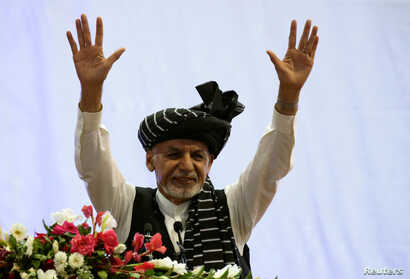 Afghan President Ashraf Ghani campaigns for re-election at a rally in Kabul, Afghanistan, Sept. 13, 2019.