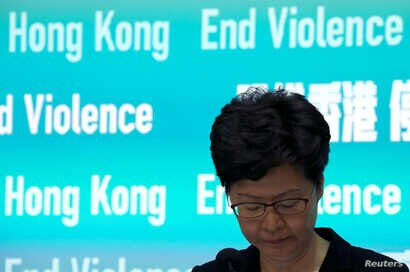Hong Kong Chief Executive Carrie Lam attends a news conference to discuss sweeping emergency laws at government office in Hong…