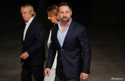 Leader of VOX party, Santiago Abascal arrives at televised debate ahead of general elections in Madrid, Spain, November 4, 2019…