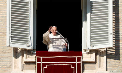 Pope Francis leads the Angelus prayer as the Roman Catholic Church marks its World Day of Peace at the Vatican, January 1, 2020…