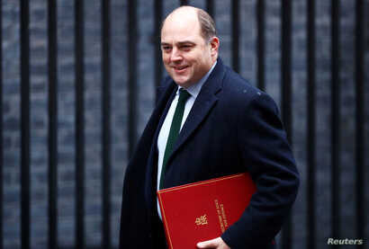FILE PHOTO: FILE PHOTO: Britain's Defence Secretary Ben Wallace is seen at Downing Street in London, Britain, December 17, 2019…