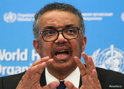Director-General of the WHO Tedros Adhanom Ghebreyesus, speaks during the news conference on the novel coronavirus (2019-nCoV)…