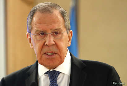 Russian Foreign Minister Sergei Lavrov attends the Human Rights Council at the United Nations in Geneva, Switzerland, February…