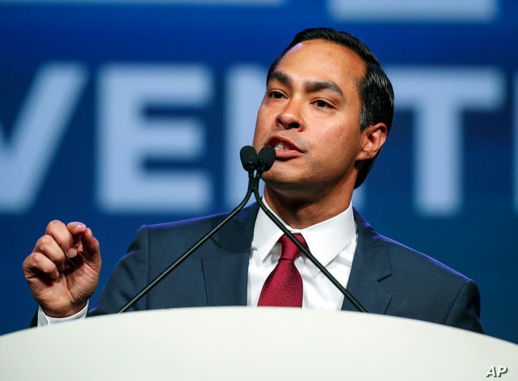 Julian Castro speaks at the start of the general session at the Texas Democratic Convention, June 22, 2018, in Fort Worth, Texas.