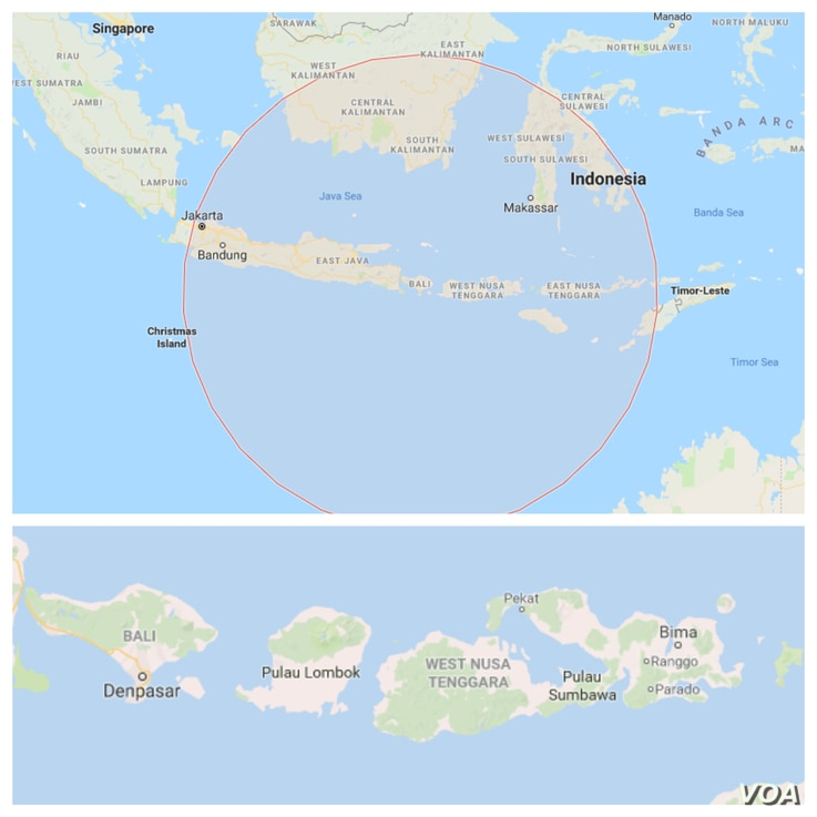 The death toll from the 6.4-magnitude earthquake in Indonesia's Lombok, Bali and Sumbawa region has climbed to 14 with 162 injured. Lower map shows, from left, Bali, Lombok and Sumbawa, Indonesia.