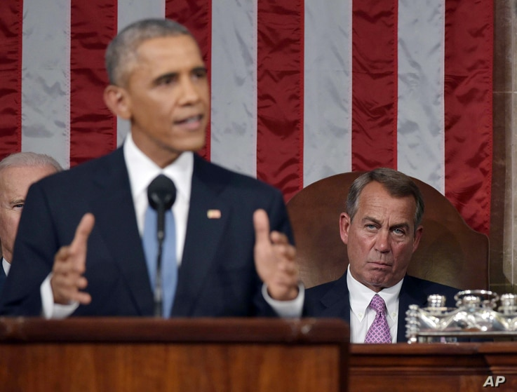 President Barack Obama delivers his State of the Union address to a joint session of Congress on Capitol Hill on Tuesday, Jan. 20, 2015.