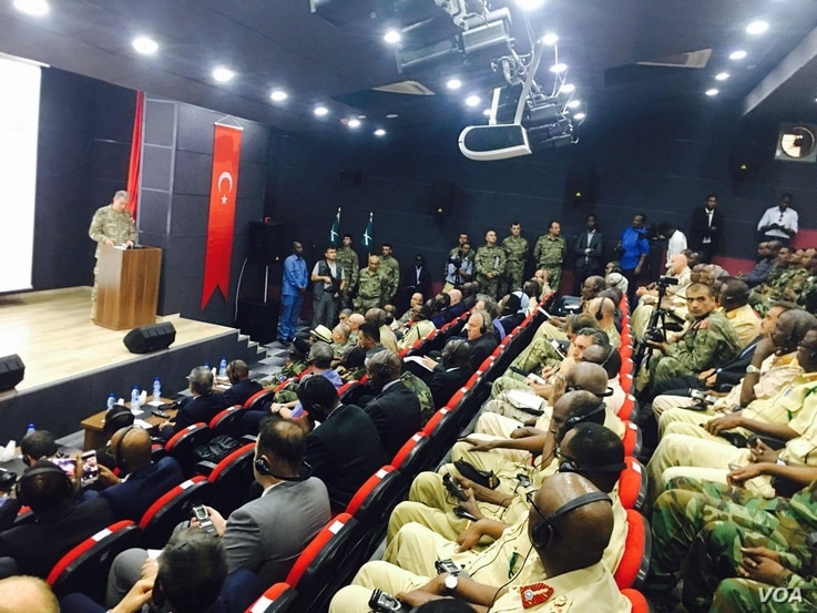 Turkish military Chief , General Hulusi Akar, in Uniform delivers a speech to an audience of Somali leaders, top military officials from Somalia National Army, Turkish Army, diplomats, and Somali military Cadets at a newly inaugurated Turkey's larg...
