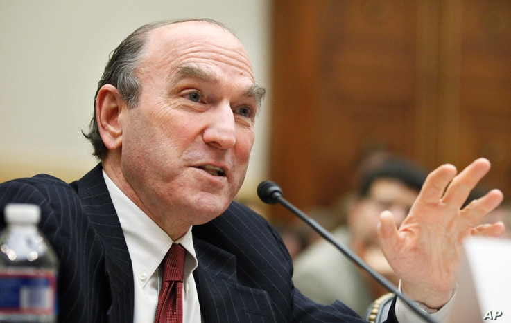 FILE - Elliott Abrams, Senior Fellow for Middle Eastern Studies, Council on Foreign Relations, testifies on Capitol Hill in Washington, Feb. 9, 2011.
