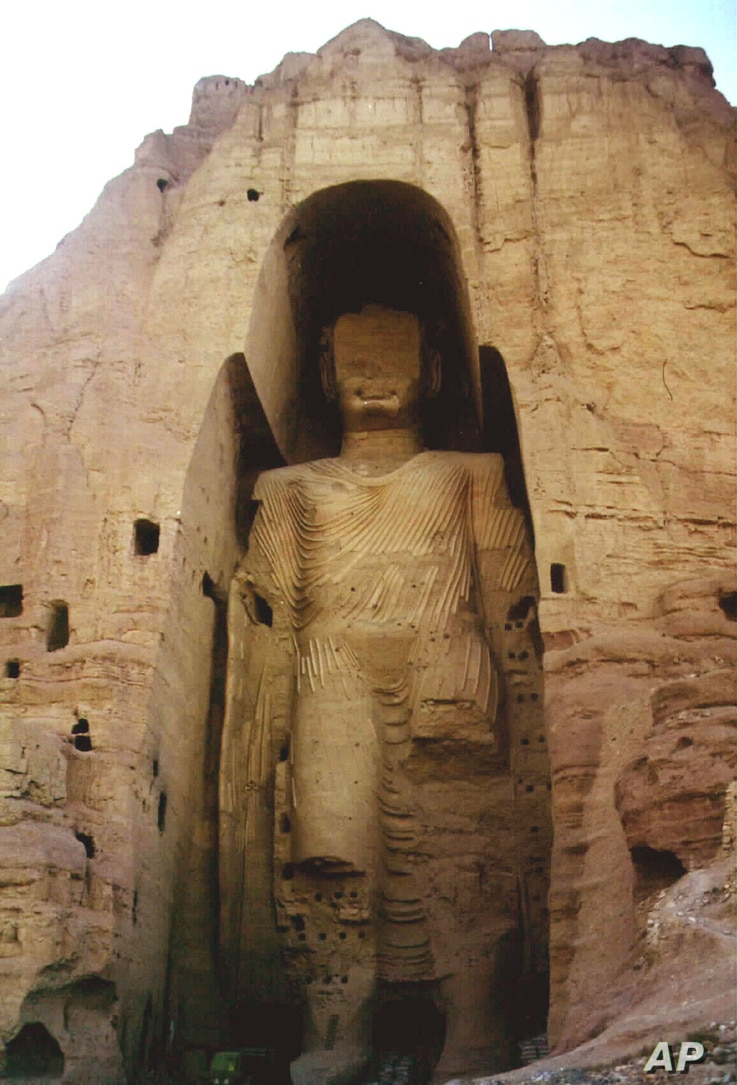 FILE - This is an undated photo of the world's tallest statue of Buddha, measuring 53 meters (175 feet) in Bamiyan, Afghanistan. According to Taliban officials, ruling Taliban soldiers demolished the head and legs of the statue, defying international...