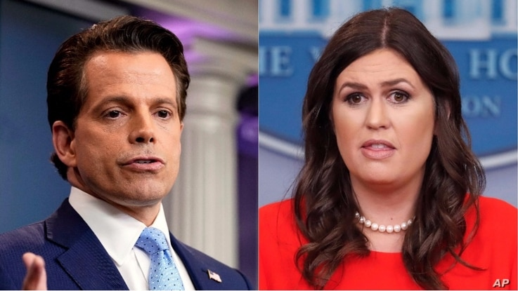 White House communications director Anthony Scaramucci, left, and White House press secretary Sarah Huckabee Sanders.