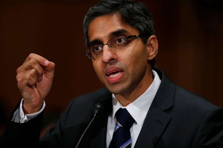 Dr. Vivek Hallegere Murthy, President Barack Obama's nominee to be the next U.S. Surgeon General, testifies on Capitol Hill in Washington, Feb. 4, 2014.