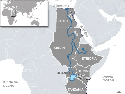 The Nile River runs through many countries