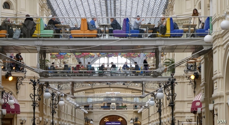 A view inside GUM Department store in Moscow. (Photo: Jamie Dettmer / VOA)