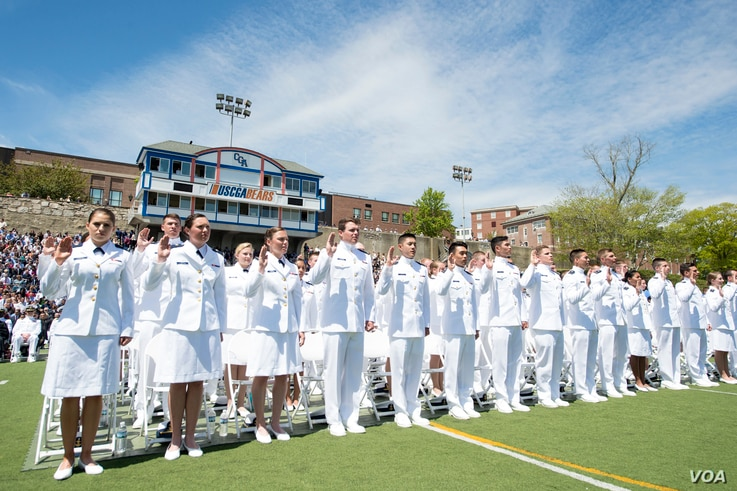 The U.S. Coast Guard Academy Class of 2016 graduates and receives their commissions as officers during their commencement ceremony May 18, 2016. (U.S. Coast Guard photo by Petty Officer 2nd Class Cory J. Mendenhall)