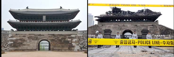 Left: South Korean police stand guard in front of the debris of the Namdaemun gate following a fire in central Seoul on February 11, 2008. Right: The newly-restored Namdaemun gate during a press preview in Seoul on April 29, 2013.