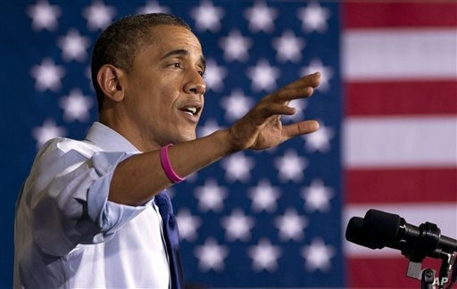 President Barack Obama speaks at a campaign event at Cornell College, in Mt. Vernon, Iowa, October 17, 2012. (AP)